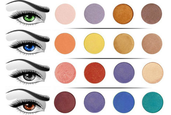 Сочетание цветов в макияже глаз